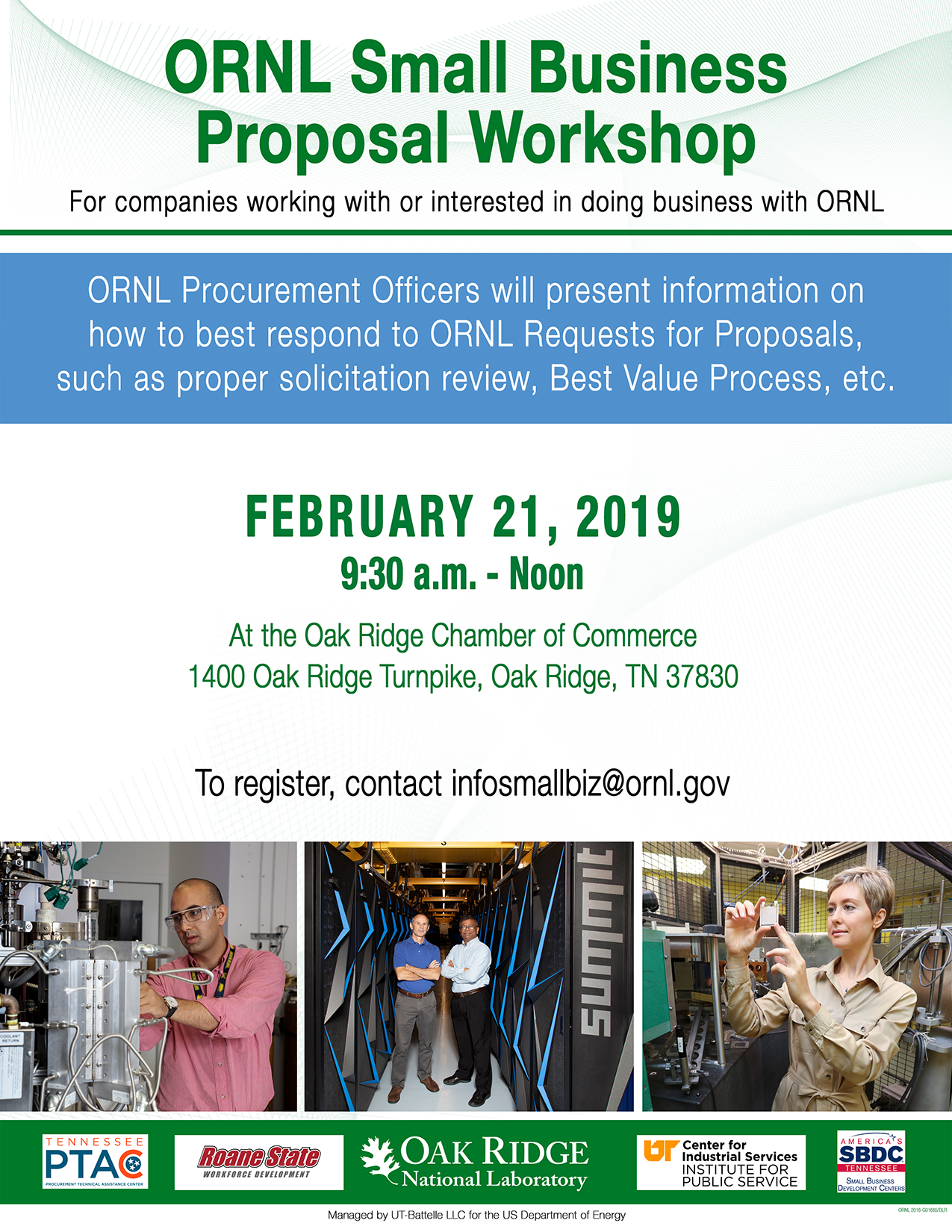 ORNL Small Business Proposal Workshop, 2.21.19