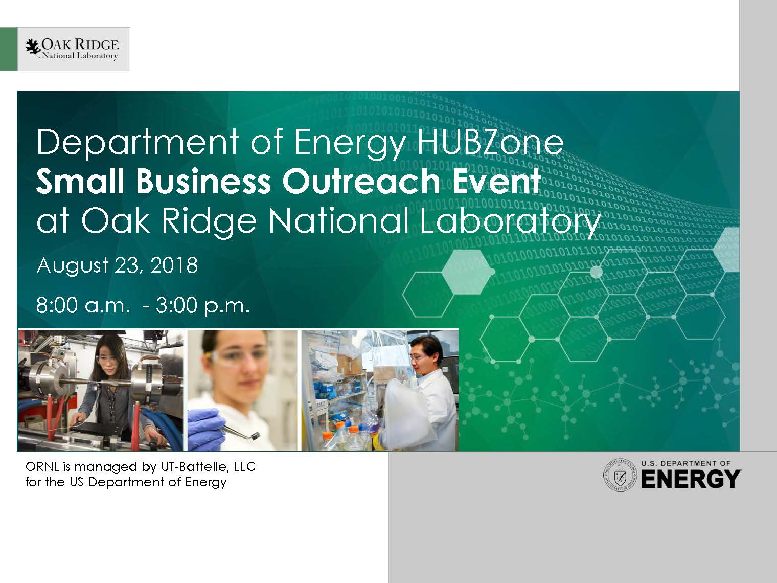 DOE HUBZone Small Business Outreach at ORNL